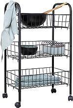 WENKO Wózek Florenz z 3 półkami, czarny, wózek do serwowania, wózek łazienkowy, wózek gospodarstwa domowego, metal malowan...