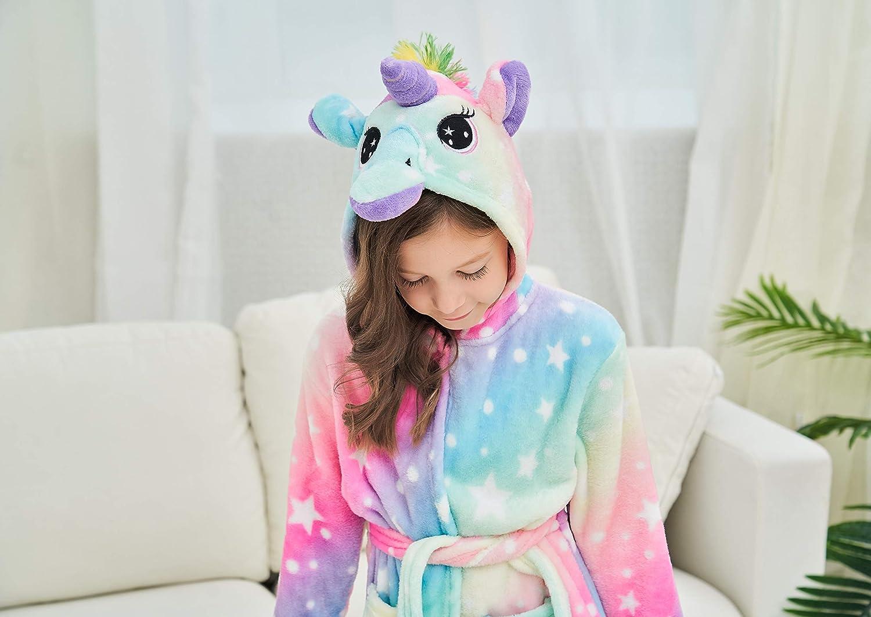 Doctor Unicorn Soft Unicorn Hooded Bathrobe with Stars Unicorn Gifts for Girls