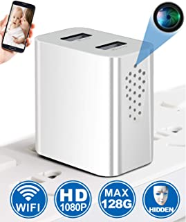 Spy Hidden Camera - WiFi Hidden Camera - Connects on Power Strip - 1080P Full HD - Remote Viewing & Motion Detection - Nanny Cam/Security Camera, No Audio
