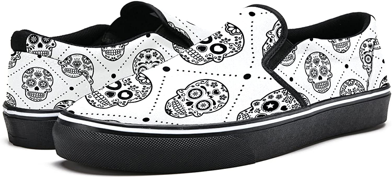 Men's Classic Slip-on Canvas Shoe Fashion Sneaker Casual Walking Shoes Loafers 11.5 Halloween Mexican Sugar Skull