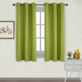 NICETOWN Thermal Insulated Solid Grommet Top Blackout Curtains/Drapes for Kid's Room (1 Pair,42 x 63 inches in Fresh Green)