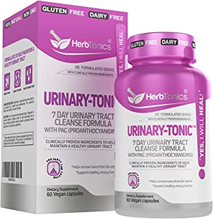 Urinary-Tonic Urinary Tract Cleanse Treatment Formula (UTI) with 36 mg PAC Medical-Grade Cranberry Supplement for UTI Prevention with D-Mannose