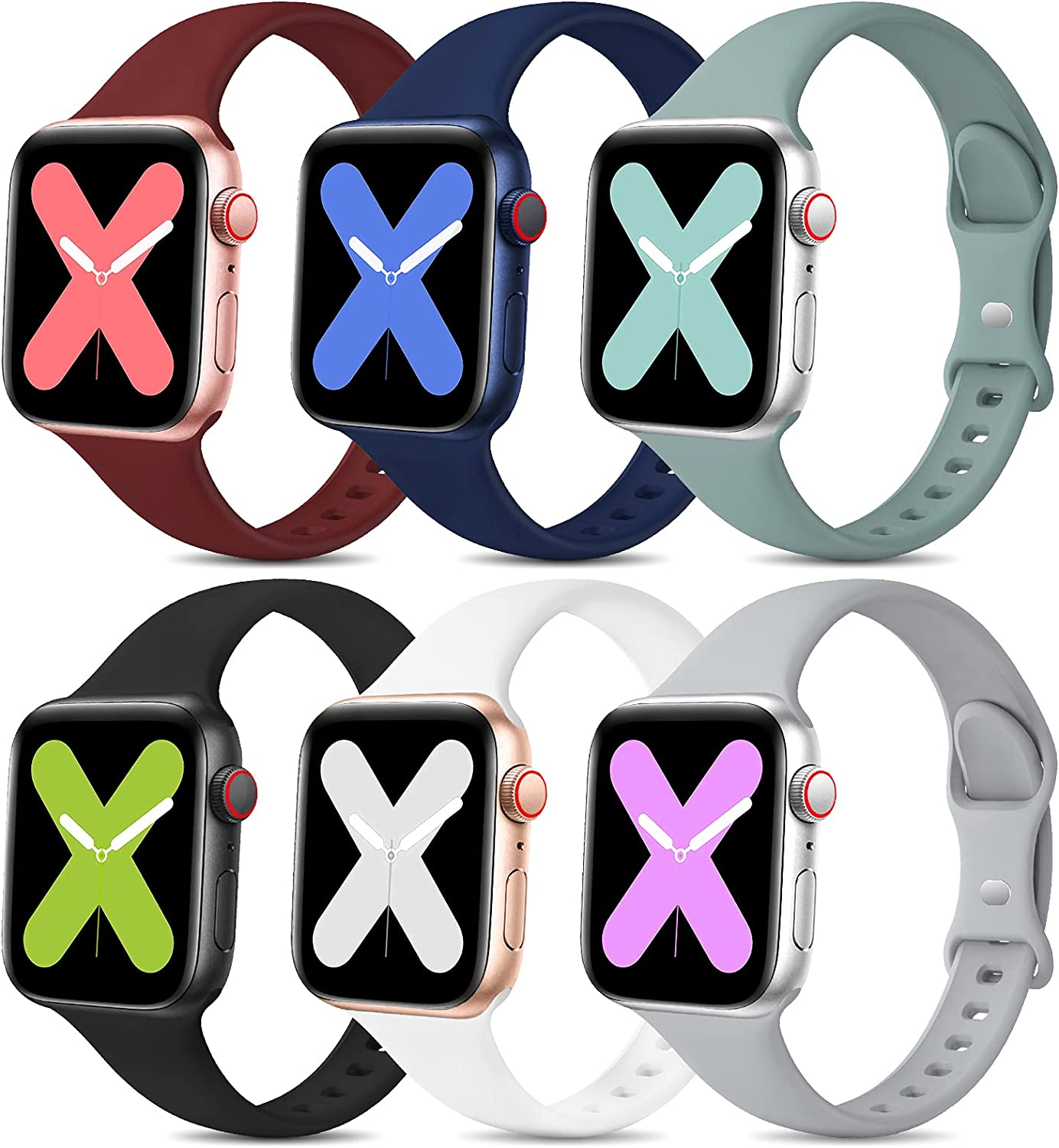 EOMTAM 6 Pack Women Slim Sport Bands Compatible with Apple Watch Band 38mm 40mm Lady Men,Girl Thin Silicone Soft Replacement Strap Wristband for iWatch Series 6 5 4 3 2 1 SE(38MM/40MM,Color3)