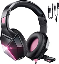Gaming Headset Xbox One Headset with 7.1 Surround Sound Stereo, PS4 Headset with Noise Canceling Mic & LED Light, Compatib...