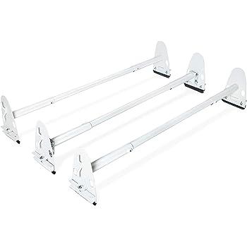 7BLACKSMITHS Universal 3 Bars Van Roof Mount Full Size Steel Ladder Rack for Chevy Express Ford GMC Savana