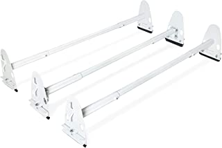 AA-Racks Model X37 Heavy Duty Rain-Gutter Van Roof Rack Round Bar Three Bar Set Steel Matte White