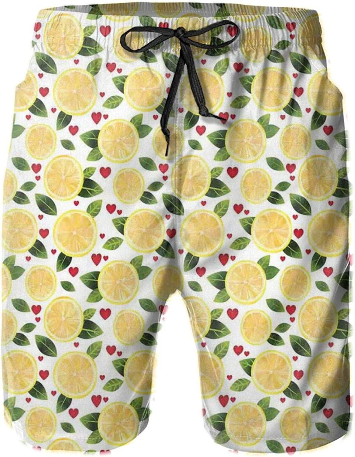 Lemon Slices with Leaves and Hearts Kitchen Menu Valentines Care Pattern Drawstring Waist Beach Shorts for Men Swim Trucks Board Shorts with Mesh Lining,L