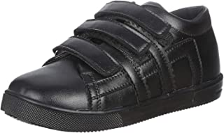 Bellino Velcro Strap Stitched Detail Faux Leather Fashion Sneakers for Boys - Black, 27
