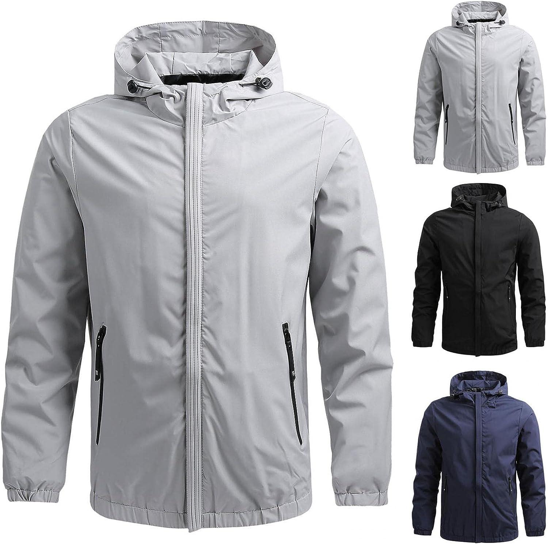 DIOMOR Men's Hooded Jacket Outdoor Hiking Lightweight Breathable Waterproof Windbreaker Full Zip Coat Sports Jacket Outerwear