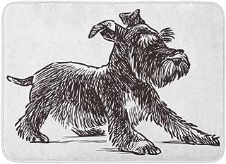 Emvency Doormats Bath Rugs Outdoor/Indoor Door Mat Dog Schnauzer Puppy Drawing Silhouette Animal Beard Black Bathroom Decor Rug Bath Mat 16