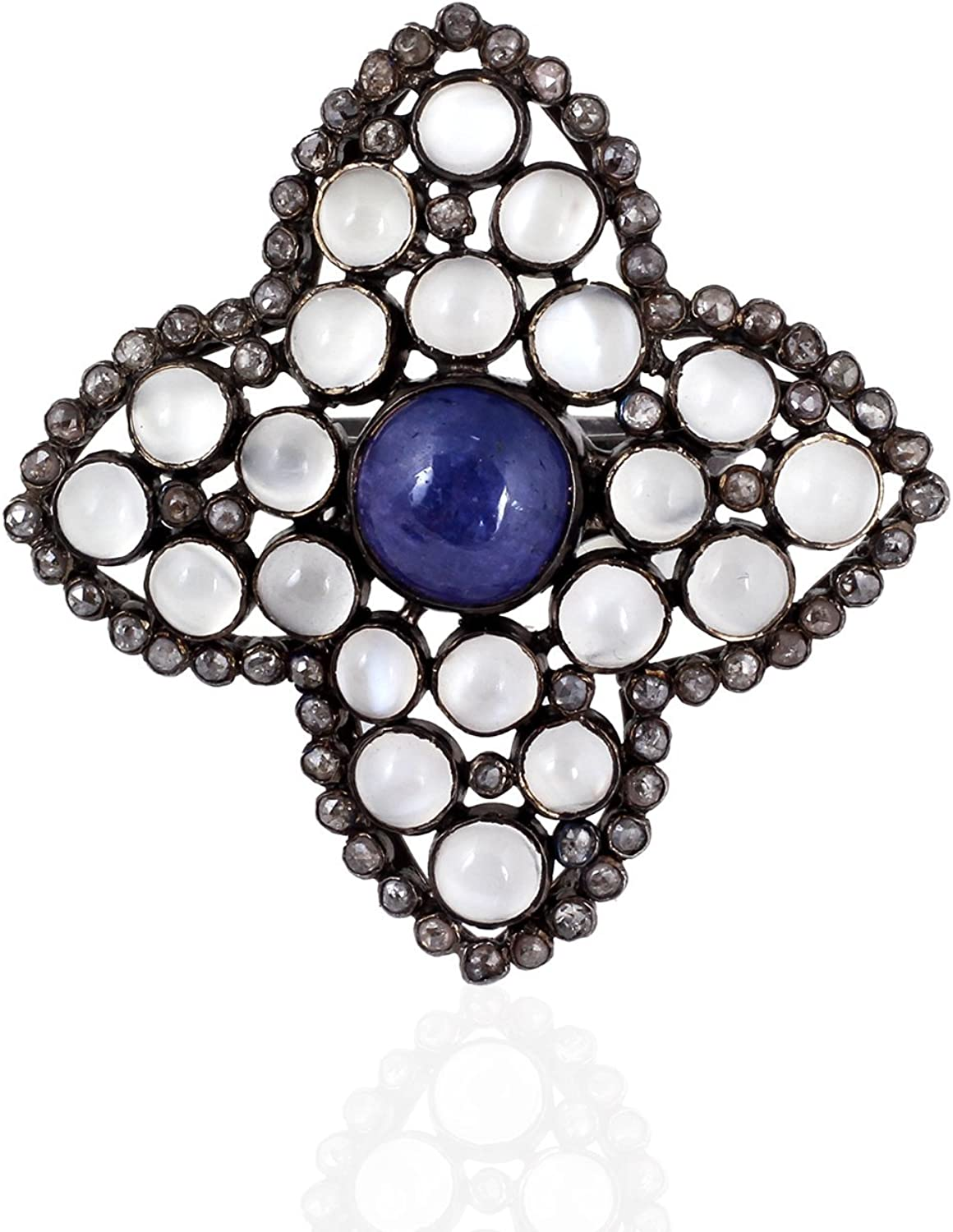 Be You Brilliant White Rainbow Moon Stone with Tanzanite & pink Cut Diamond Real Gemstones Black Rhodium Plated Sterling Silver Ring for Women