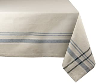 DII 100% Cotton Everyday French Stripe Tabletop Collection, Tablecloth, 60x104, Taupe/Black