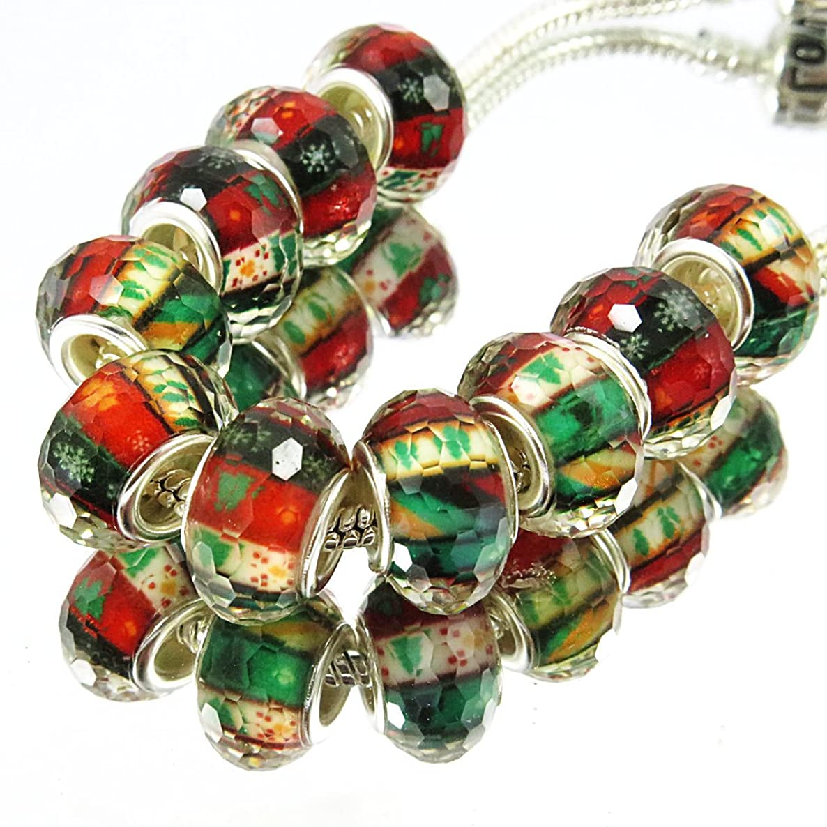 TianBo 100 Pcs Silver Plated core Bulk Surreal Colors Murano Christmas Pattern Beads Fit European Charm Bracelet DIY Jewelry Making (S08:14x9mm)