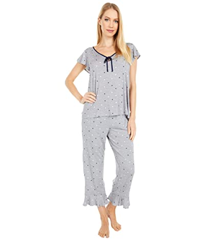 Kate Spade New York Modal Spandex Jersey Cropped Pajama Set (Grey Dot Space) Women