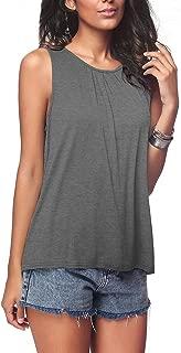 Bloggerlove Women's Summer Sleeveless Pleated Front Casual Tank Tops Round Neck Shirts