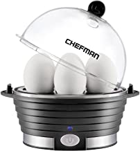 Chefman Electric Egg Cooker Boiler, Rapid Poacher, Food & Vegetable Steamer, Quickly Makes Up To 6, Hard, Medium or Soft B...