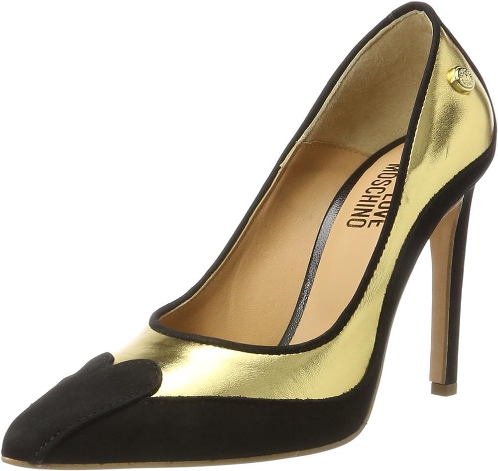 Love moschino décolleté scarpe con tacco donna in pelle JA1006AC14IE190A