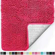Gorilla Grip Original Luxury Chenille Bathroom Rug Mat, 30x20, Extra Soft and Absorbent Kids Shaggy Rugs, Machine Wash Dry, Perfect Plush Carpet Mats for Tub, Shower, and Bath Room, Hot Pink