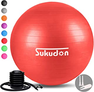 Sukudon バランスボール 45/55/65/75CM (8色) 厚い 重量増加 ヨガボール 滑り止め 環境に優しい フットポンプ付き 耐荷重800KG フィットネス エク ササイズ ダイエット器具 椅子 日本語説明書付き
