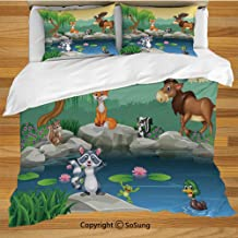 Cartoon Decor King Size Bedding Duvet Cover Set,Funny Mascots Animals by The Lake Moose Fox Squirrel Raccoon Kids Nursery Theme Decorative 3 Piece Bedding Set with 2 Pillow Shams,Multi