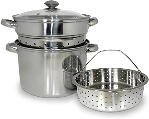 discount ExcelSteel 20 Qt Multifunction sale Stainless Steel Pasta Cooker with Encapsulated Base, Vented Glass Lid, and discount Riveted Handles sale
