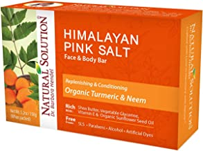 Natural Solution Himalayan Pink Salt Soap Bar,Moisturizing And Organic Bar Soap,Turmeric & Neem - 5.2 oz