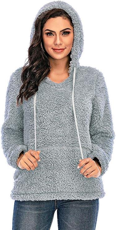 Les umes Women's Casual Long Sleeve 1/4 Zipper Sherpa Fleece Pullovers Loose Sweatshirt Hoodies Outwear Coats