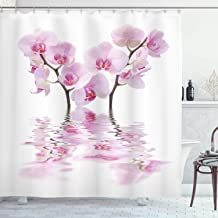 Ambesonne Apartment Decor Collection, Wild Orchids with Mirroring Features in Water Aromatic Bouquet Floral Plant Concept, Polyester Fabric Bathroom Shower Curtain, 84 Inches Extra Long, White Pink