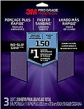 3M Lixa avançada de aderência antideslizante, 22,8 cm x 28,9 cm, lixa 150, pacote com 3, 25150P-G