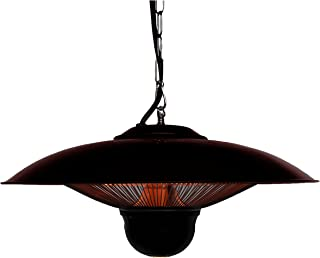 Ener-G+ Indoor/Outdoor Ceiling Electric Patio Heater with LED Light and Remote Control, Black