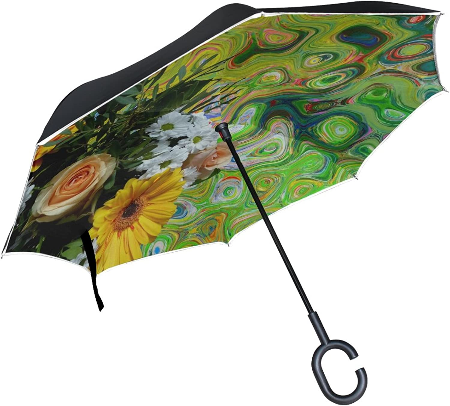 Double Layer Ingreened Bouquet of Flowers pinks Flowers Nature Bouquet Umbrellas Reverse Folding Umbrella Windproof Uv Predection Big Straight Umbrella for Car Rain Outdoor with CShaped Handle