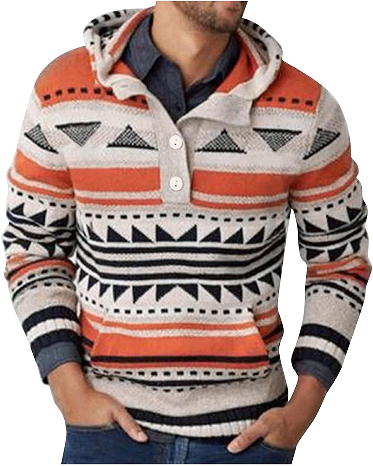 Huangse Men's Long Sleeve Knit Sweater Vintage Striped Button Down Polo Shirt Novelty Polo Collar Pullover Hoodie with Pocket