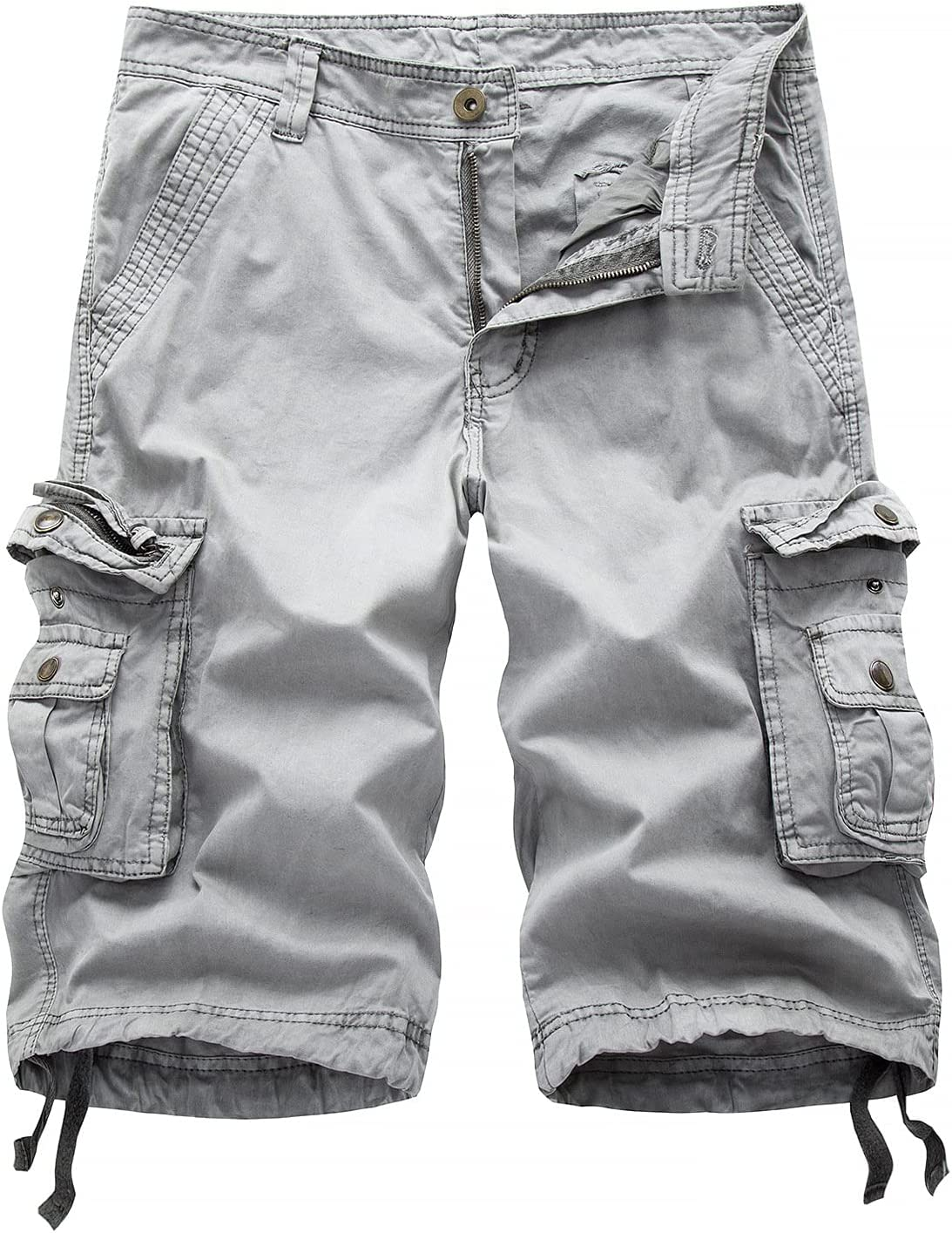 Outdoor Twill Cargo Shorts for Men Casual Summer Lightweight Outdoor Shorts Relaxed Fit Stretchy Multi-Pocket Shorts (Grey,31)