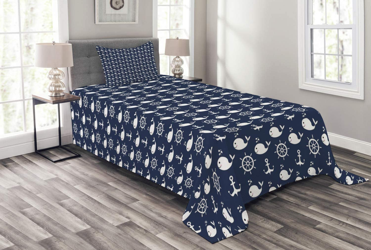 Ambesonne Navy Blue Bedspread Maritime Whales with Helm Max 44% Very popular! OFF Pattern