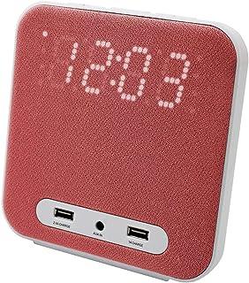 HANNLOMAX HX-145CR Alarm Clock Radio, PLL FM Radio, Digital Clock with Dual Alarm, 2 USB Ports for Charging, Aux-in (Red)