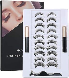 Magnetic False Eyelashes Set with Magnetic Liquid Eyeliner & 10 Pairs Magnetic False Eyelashes Black Magnetic Fake Lashes ...