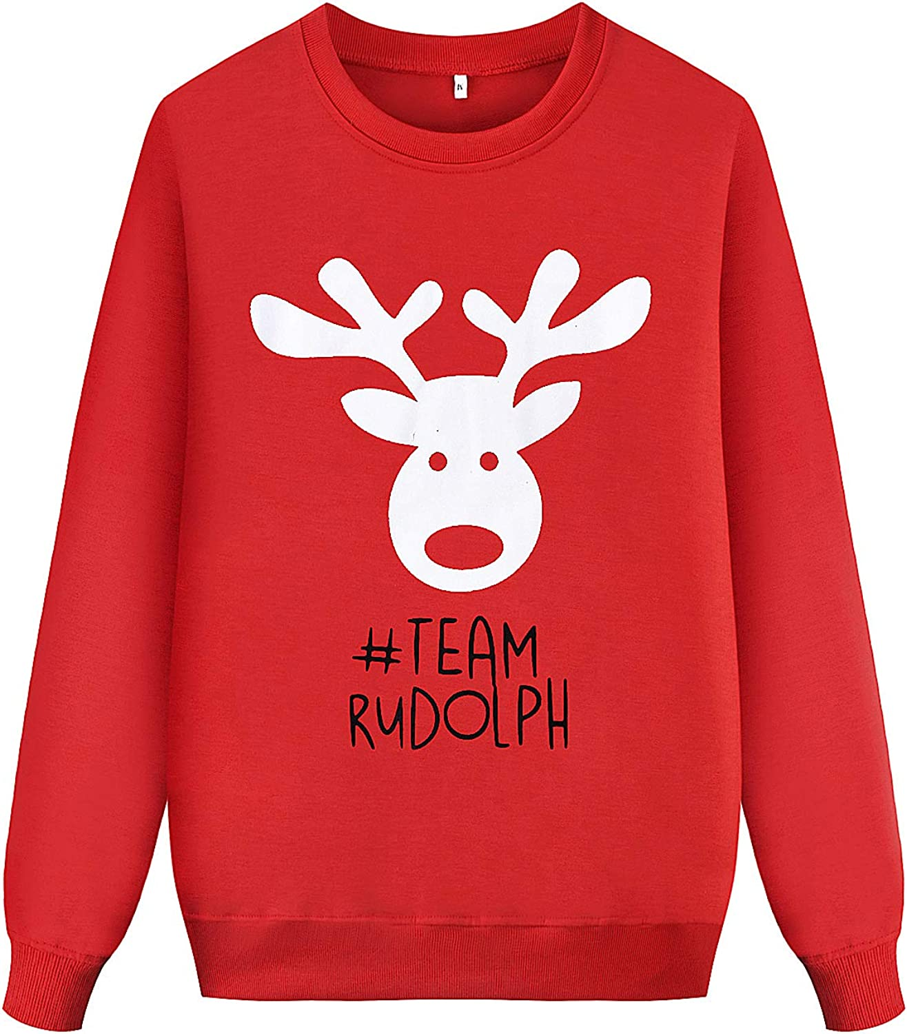 Family Matching Outfit Christmas Reindeer Pullover SweatshirtsLong Sleeve Round Neck Hoodie Top
