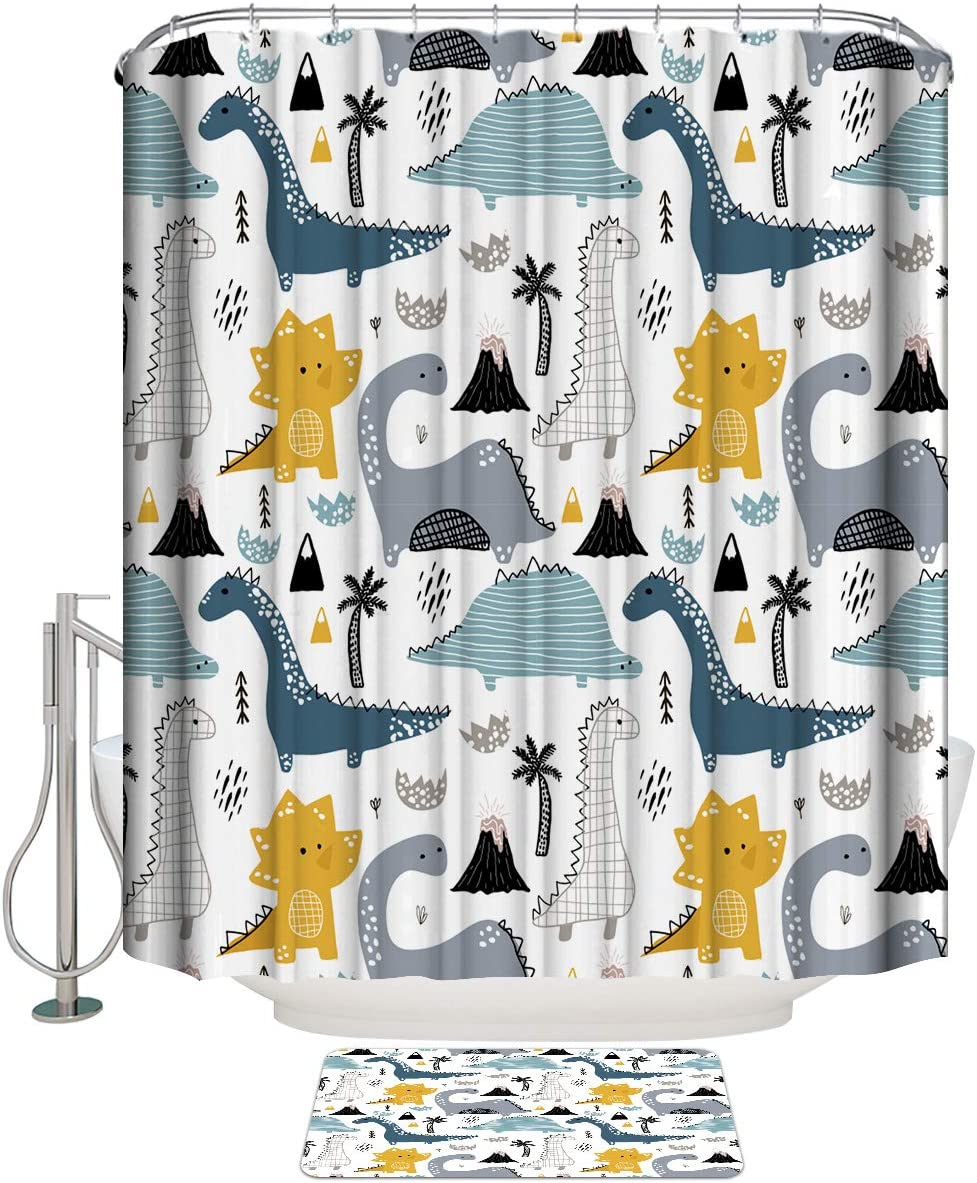 COLORSUM Shower Curtain It is very 2021 popular Sets with Cartoon Rugs Non-Slip Dinosaur