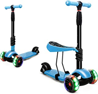 XJD Toddler Scooter for Kids 3 Wheel Kick Scooter for Girls Boys Adjustable Height Extra-Wide Deck PU Flashing Wheels Ligh...