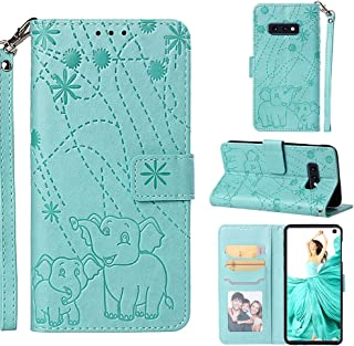 Galaxy S10e Case, Fashion Premium PU Leather Wallet Cover Embossed Pattern Credit Card Holders Flip Magnetic Clasp Wrist Strap TPU Inner Cover for Samsung Galaxy S10e - Green