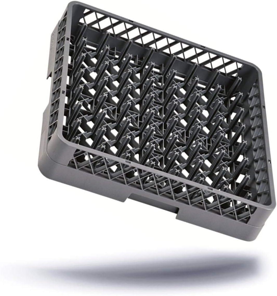 Kerafactum Cesta para lavavajillas para 64 dedos, platos, vasos, tazas, bandejas para el lavavajillas, cesta universal de plástico de malla gruesa, extensible de 50 x 50 cm, todo tipo de rack