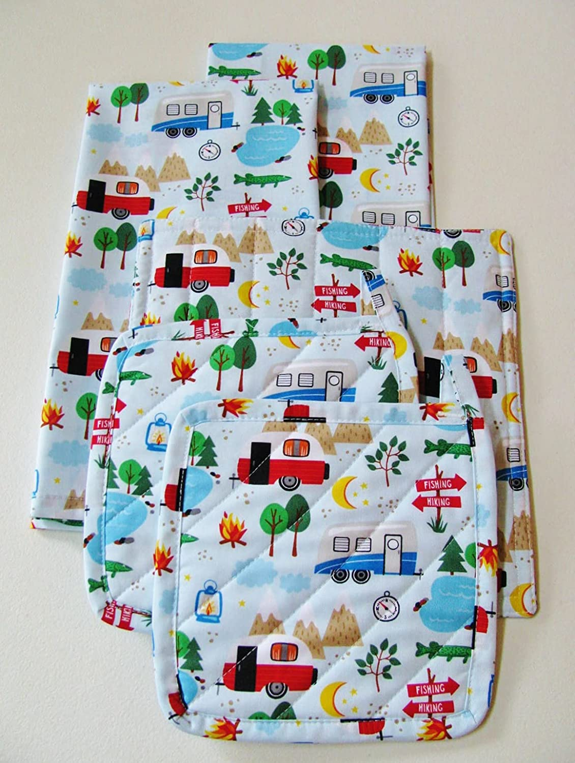Let's Go Camping Super popular specialty Outlet ☆ Free Shipping store Kitchen Linens Set Total 5 Items