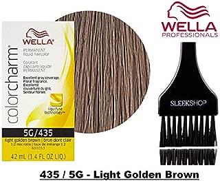 Wella COLOR CHARM PERMANENT Liquid Haircolor (w/Sleek Tint Brush) Excellent Gray Coverage, Floral Fragrance, 1:2 Mix Ratio Hair Color DYE (435 / 5G - Light Golden Brown.)
