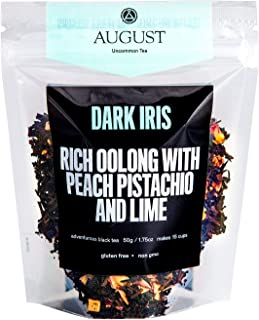 August Uncommon Loose Leaf Tea - Dark Iris Rich Oolong with Peach, Pistachio and Lime