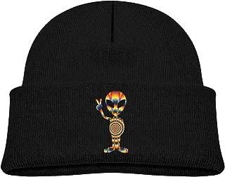ABY14-YJ Baby Boy's Girl's Knit Beanie Hat Tie Dye Alien Peace Cuffed Cotton Soft Funny Skull Cap Black