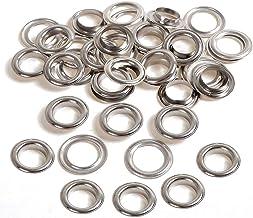 Trimming Shop Zilveren 20mm ijzeren oogjes doorvoertules met ringen voor zwembadhoezen, dekzeil, vinyl banners, yogamat, k...