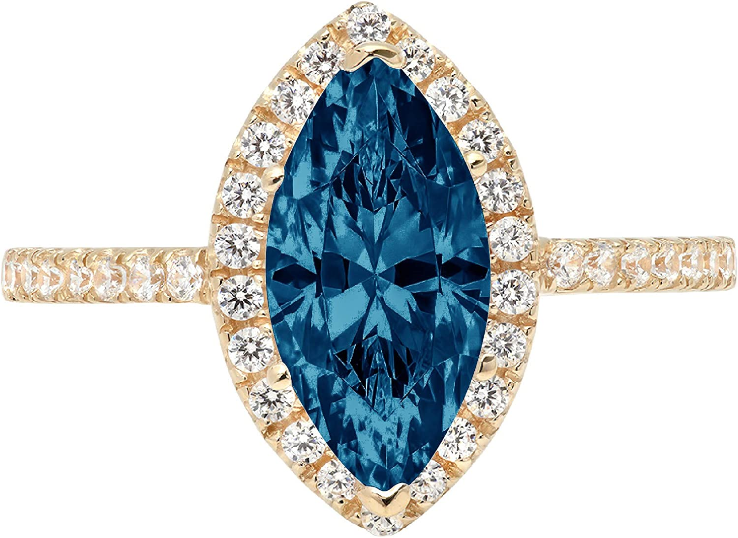 2.35ct Brilliant Marquise Cut Solitaire with Accent Halo Natural London Blue Topaz Gem Stone VVS1 Designer Modern Statement Ring Solid 14k Yellow Gold Clara Pucci