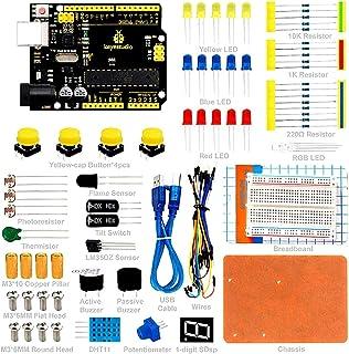 KEYESTUDIO for Arduino Basic Starter Kit with Resistors, Sensors, Potentiometer, Breadboard Kit for Arduino and Raspberry Pi