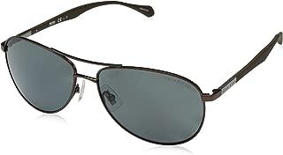 Men's B0824s B0824S Polarized Aviator Sunglasses, Matte Brown/gray Polarized, 60 mm