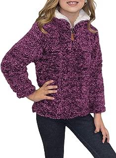 KIDVOVOU Girls 1/4 Zip Winter Warm Fleece Pullover Sweatshirt Tops 4-13Years